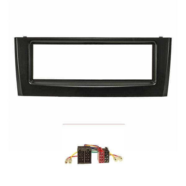 Radioblende Set kompatibel mit Fiat Grande Punto Typ 199 Bj.2005-2009 schwarz mit Radioadapter ISO