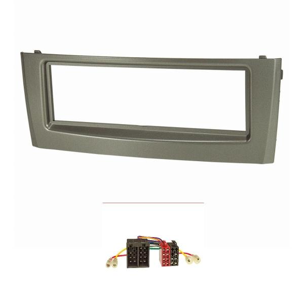 Radioblende Set kompatibel mit Fiat Grande Punto Typ 199 Bj.2005-2009 grau mit Radioadapter ISO