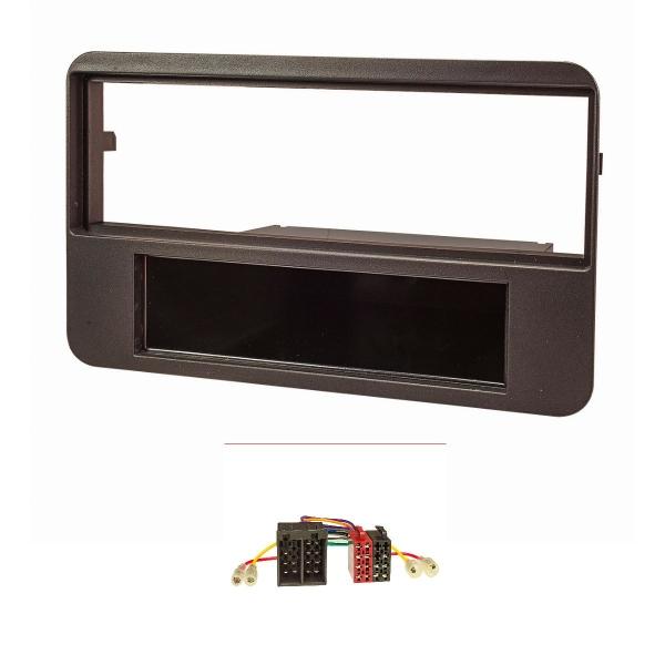 Radioblende Set kompatibel mit Alfa Romeo 159 Brera Spider schwarz mit Radioadapter ISO (Fahrzeuge ohne OEM-Navi)