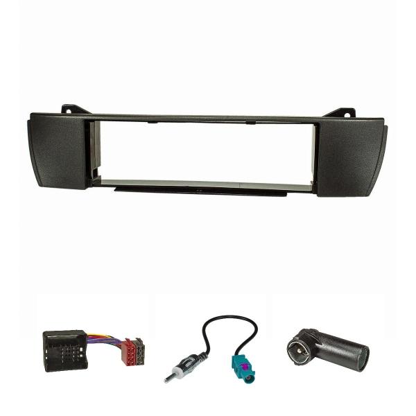 Radioblende Set kompatibel mit BMW Z4 E85 E86 Bj.2003-2008 anthrazit mit Quadlockadapter ISO Fakra Antennenadapter DIN ISO