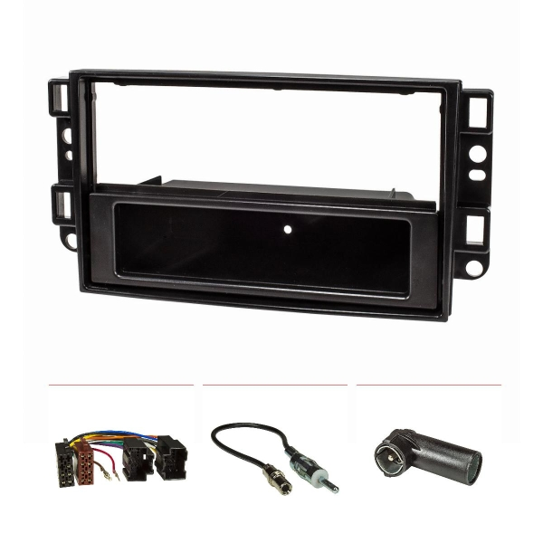 Radioblende Set kompatibel mit Chevrolet Aveo Epica Captiva Bj.2006-2011 schwarz mit Radioadapter ISO Antennenadapter DIN ISO