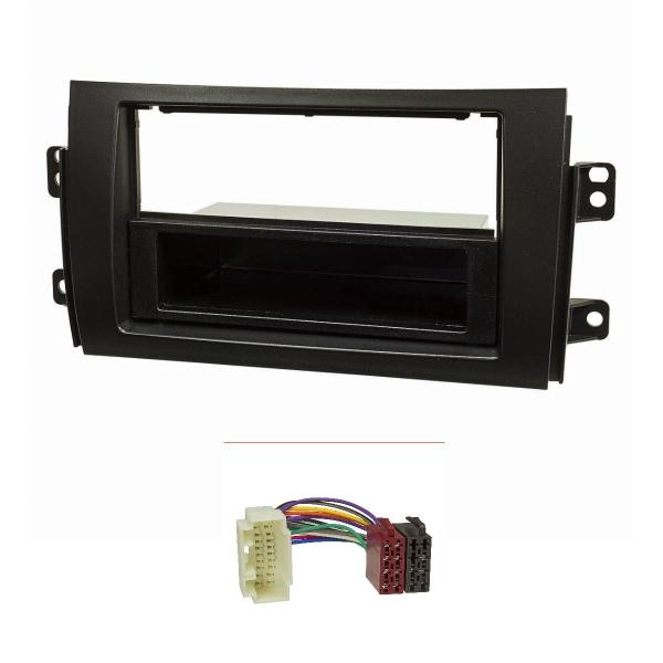 Radioblende Set kompatibel mit Suzuki SX4 Fiat Sedici schwarz mit Radioadapter ISO
