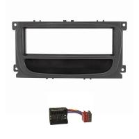 Radioblende Set kompatibel mit Ford Focus 2 Mondeo S-Max C-Max Galaxy Kuga schwarz mit Ablagefach Quadlockadapter ISO