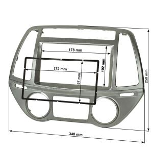 Doppel DIN Radioblende kompatibel mit Hyundai i20 PB ab...