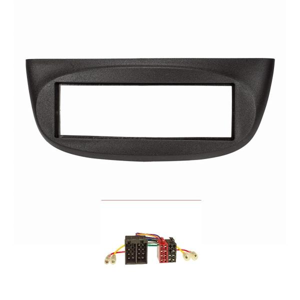 Radioblende Set kompatibel mit Renault Twingo II Bj.2007-2012 schwarz mit Radioadapter ISO