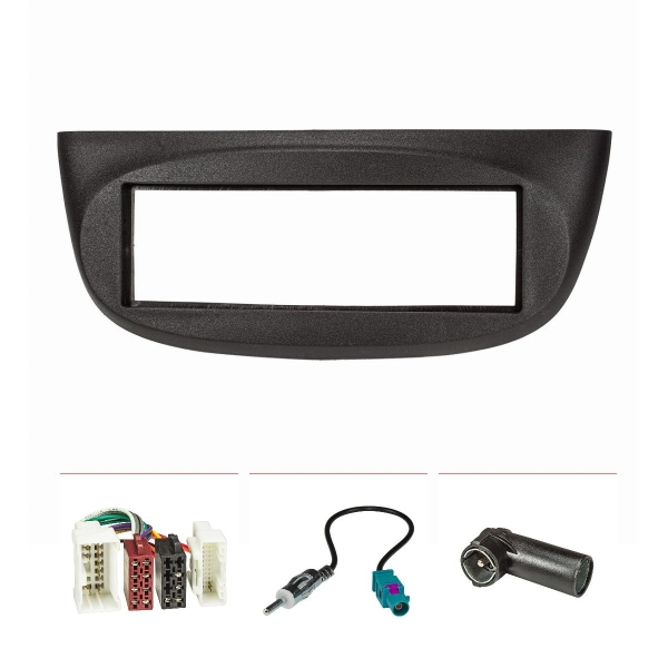 Radioblende Set kompatibel mit Renault Twingo II ab Bj.2012 schwarz mit Radioadapter ISO Fakra Antennenadapter ISO DIN