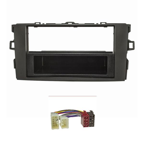 Radioblende Set kompatibel mit Toyota Auris E150 schwarz mit Radioadapter ISO