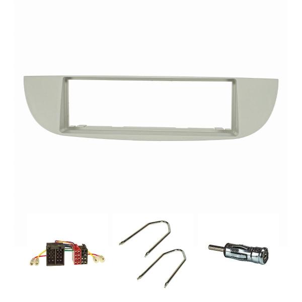 Radioblende Set kompatibel mit Fiat 500 Bj.2007-2015 beige mit Radioadapter ISO Antennenadapter ISO DIN Entriegelungsbügel