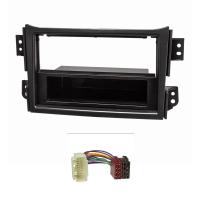 Radioblende Set kompatibel mit Opel Agila B Suzuki Splash schwarz mit Radioadapter ISO